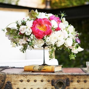 Centerpiece with Pink Peonies and White Roses