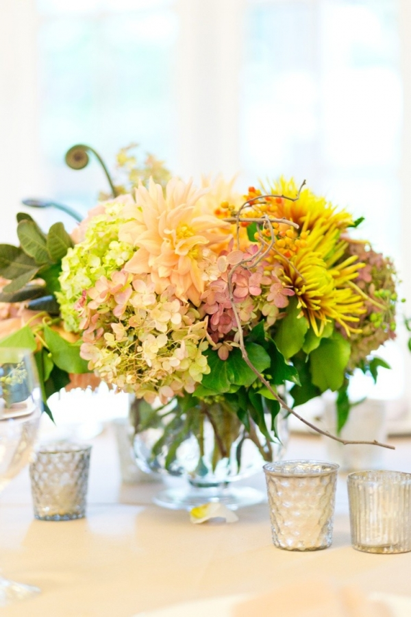 Yellow and green centerpiece