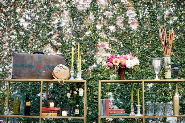 Vintage Props with Ivy-Covered Wall