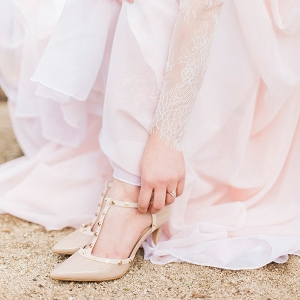 Nude and Gold Studded Bridal Heels