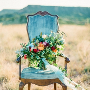 Colorful Fall Bouquet on a Vintage Velvet Chair