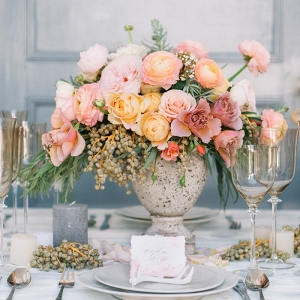 Coral, Peach, and Mauve Centerpiece with Neutral Table Decor