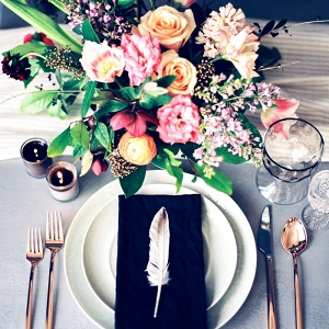 Colorful Wedding Flowers with a Crisp Place Setting