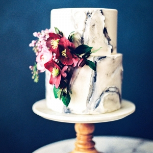 Marbled Wedding Cake with Moody Flowers
