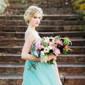 A Modern Day Fairy Tale Bride in a Cinderella Blue Dress