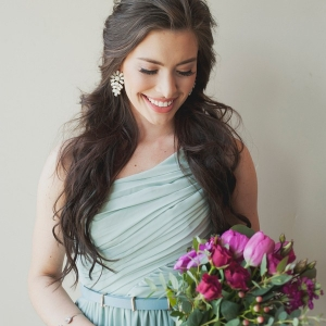 Bridesmaid in a Chic Mint One Shoulder Dress