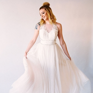 Pleated Chiffon Wedding Dress with Metal Studs and Rose Tattoos