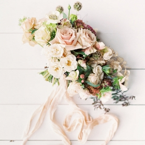 Peach and Ivory Spring Garden Bouquet