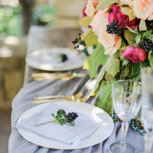 Farm Table Set with Garden Flowers and Gold Place Settings