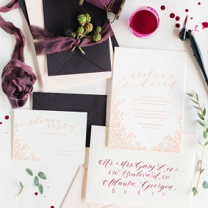 Hand Lettered Wedding Invitation Suite in Burgundy and Rose Gold