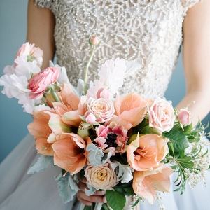 Crystal Wedding Dress with a Pastel Spring Bouquet