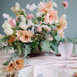 Garden flower centerpiece in opal shades of spring pastels