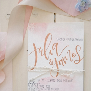 Rose Gold Hand Lettered Wedding Invitations