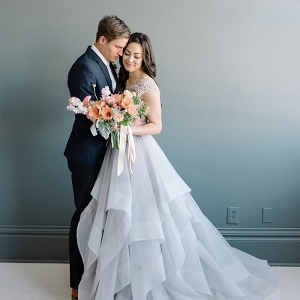 Dreamy Periwinkle Wedding Dress with Pastel Spring Flowers
