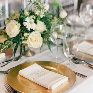 Organic Glam Gold Place Setting with Green and White Wedding Flowers