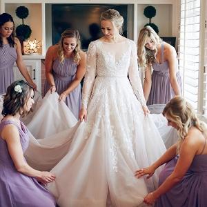 Lavender Bridesmaid Dresses with an Amethyst Wedding Dress