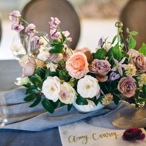 Purple and Gold Floral Arrangements
