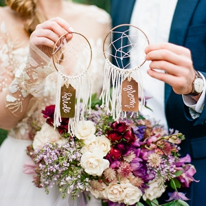 Dream Catcher Escort Cards for the Bride and Groom