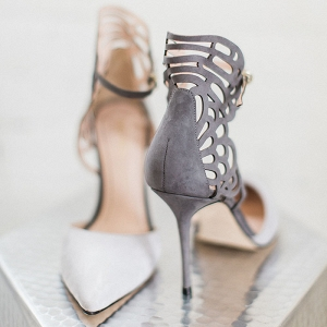 Gray Suede Laser Cut Shoes