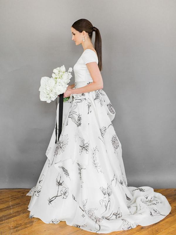 Modern Floral Print Wedding Dress