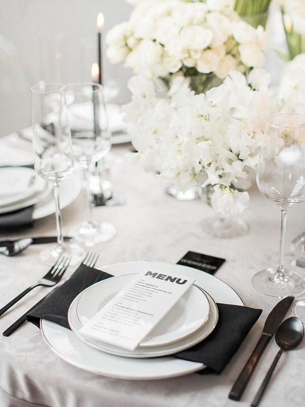 Monochrome White Wedding Flowers with Modern Black Decor