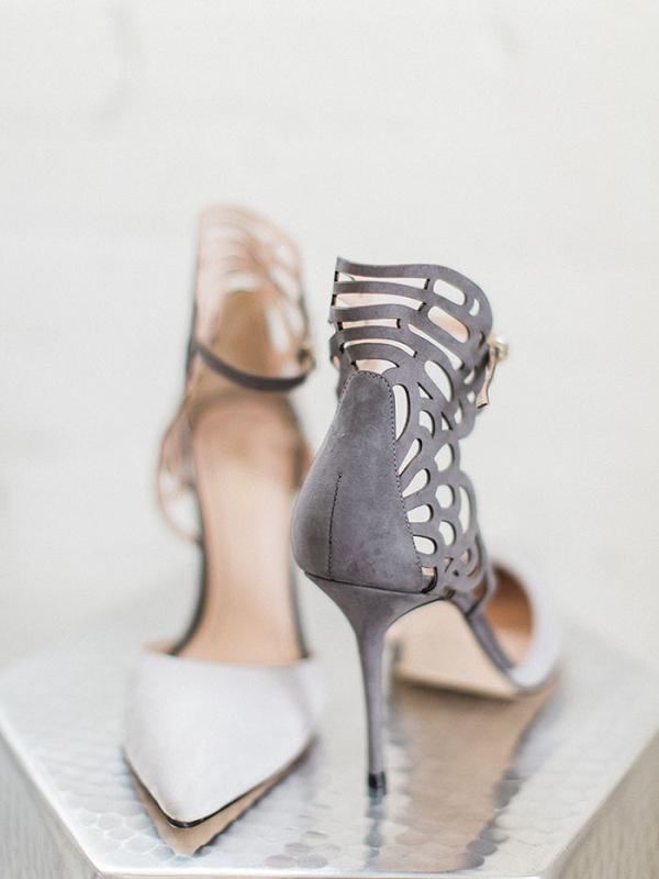 Gray Suede Laser Cut Shoes