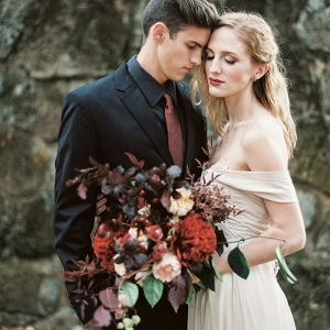 Moody Fairy Tale Wedding Shoot with a Blush Dress and Burgundy Flowers