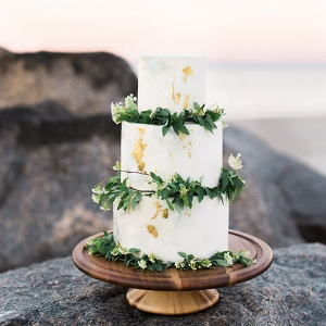 Marbled Wedding Cake with Gold Leaf