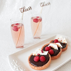Chocolate Raspberry Tarts and Kir Royale Cocktails