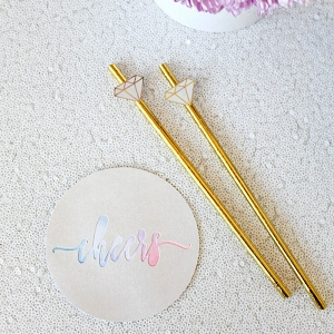 DIY Bridal Shower Cocktail Stirrers and Pastel Watercolor Coasters