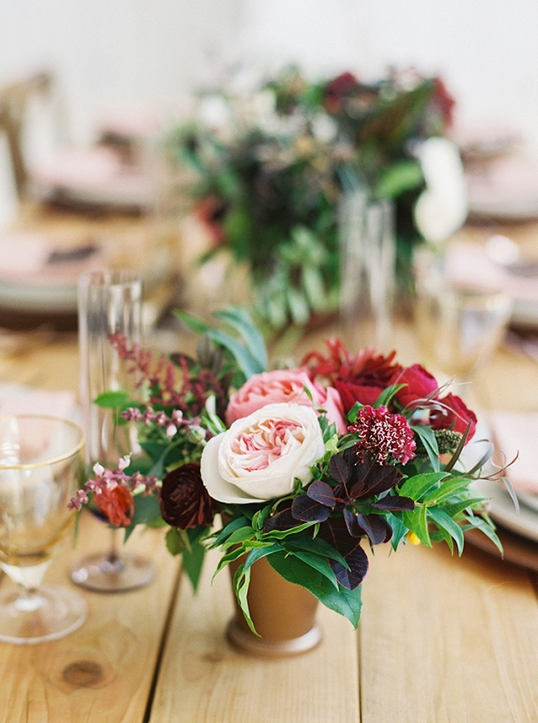 Pink and Red Centerpieces with Metallic Accents