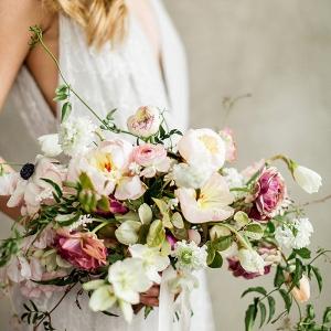 Elegant Peach and Plum Wedding Bouquet