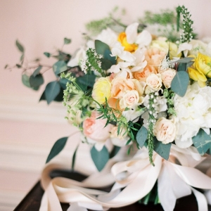 Peach and Yellow Bouquet with Delicate Garden Flowers