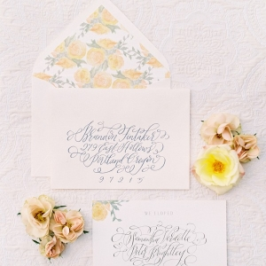 Delicate Floral Print and Calligraphy Wedding Invitation