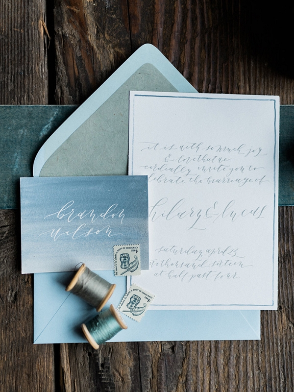 Watercolor and White Ink Wedding Invitations