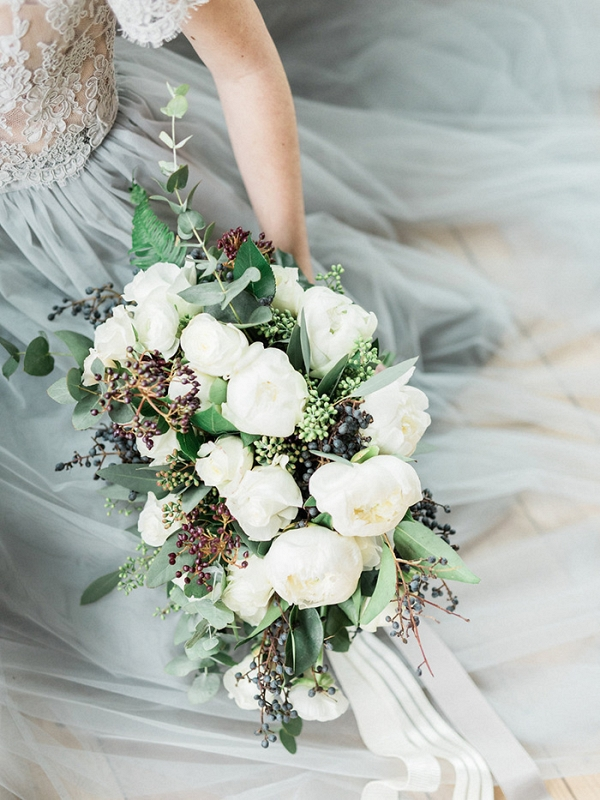 Bouquet of Winter Greenery and White Peonies