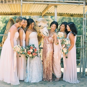 Bridesmaids in Mismatched Blush and Sequin Dresses