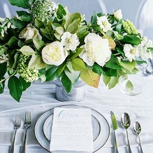 Organic Green and White Centerpiece