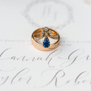 Vintage Sapphire Engagement Ring with a Copper Wedding Band