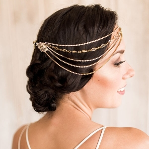 Styling a Low Back Wedding Dress with a Boho Glam Bridal Headpiece