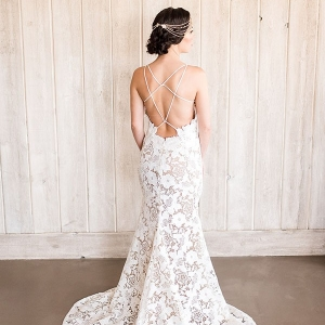 Nude Lace Sheath Dress with an Open Back