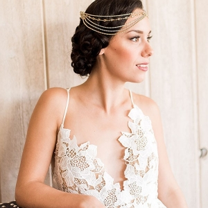 Modern Lace Sheath Wedding Dress with a Boho Glam Headpiece
