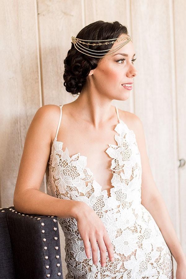 Modern Lace Sheath Wedding Dress with a Boho Glam Headpiece