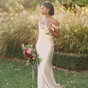 Elegant Vintage Bride in a Champagne Wedding Dress