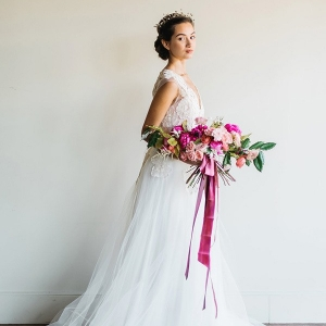 Modern Day Princess Bridal Style with a Pink and Blush Bouquet