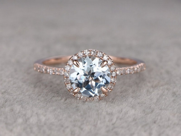 Gemstone Aquamarine Engagement Ring