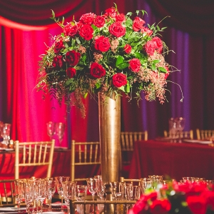 Tall red Gold Floral centerpiece