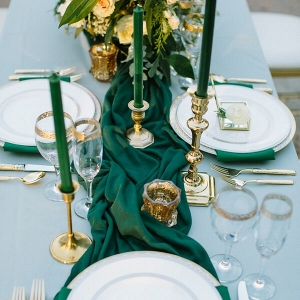 Emerald Gold Wedding tablescape