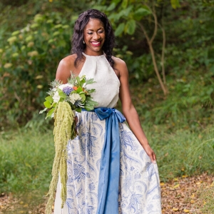English Garden Wedding - bride in blue wedding separates