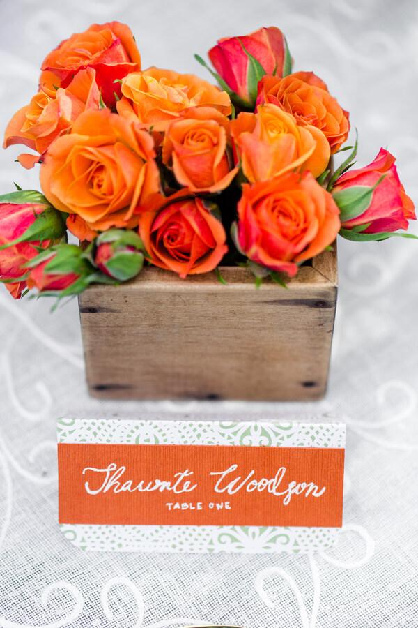 English Garden Wedding - orange floral centerpiece